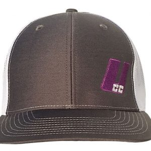 UCC Charcoal/White Mesh Purple/Silver Logo Snap Back Hat-0